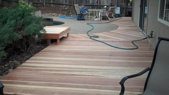 Finished deck with bench
